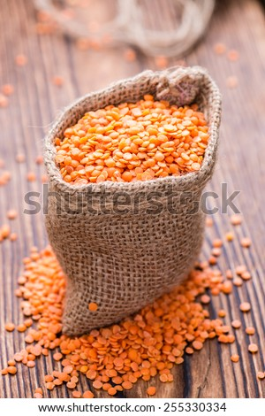 Portion of Red Lentils (detailed close-up shot) - stock photo