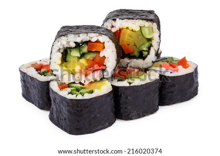 Portion of rolls with vegetables isolated on white background