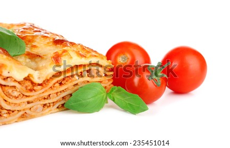 Portion of tasty lasagna, isolated on white - stock photo