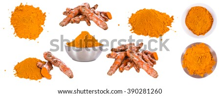 Portion of Turmeric (close-up shot) isolated on white background