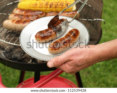 Portion of two grilled sausages, barbecue party - stock photo