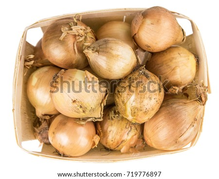 Portion of White Onions as detailed close-up shot isolated on white background