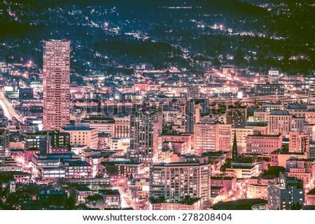 Portland at Night Skyline. Scenic Portland Night Skyline Vista. United States. - stock photo