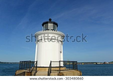 Portland Breakwater Lighthouse (Bug Light) is a small lighthouse at the south Portland Bay, Portland, Maine, USA. - stock photo