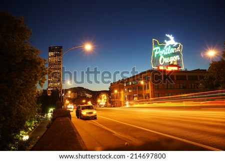 Portland Downtown at Night, Portland, Oregon, United States of America.  - stock photo