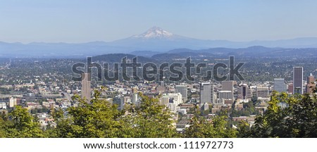 Portland Downtown Cityscape and Landscape with Mount Hood and Trees Panorama