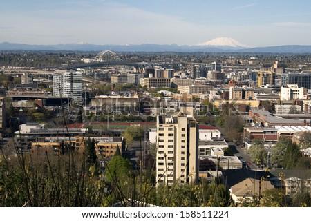Portland Downtown The Cascade Range of Pacific Northwest territory of Oregon and Washington States - stock photo