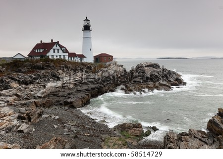 Portland Head Light, Cape Elizabeth, Maine, USA - stock photo