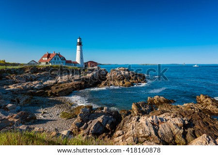 Portland Head Light Lighthouse in Cape Elizabeth, Maine, USA.