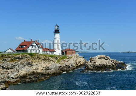 Portland Head Lighthouse and keepers' house in summer, Cape Elizabeth, Maine, USA