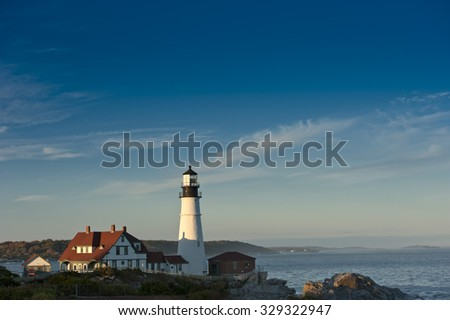 Portland Head Lighthouse bathed in late afternoon sun
