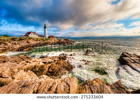 Portland Head Lighthouse during the early morning sunrise, Cape Elizabeth, Maine, USA. - stock photo