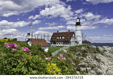 Portland Head lighthouse in Cape Elizabeth, Maine, on Casco Bay in the Gulf of Maine is the oldest lighthouse in the state of Maine and stands 80 feet above ground and 101 feet above water, - stock photo
