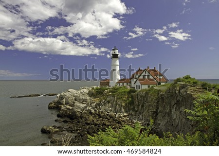 Portland Head Lighthouse, in Cape Elizabeth, Maine, protecting Portland harbor