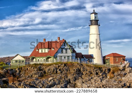 Portland Head Lighthouse in Maine early morning  - stock photo