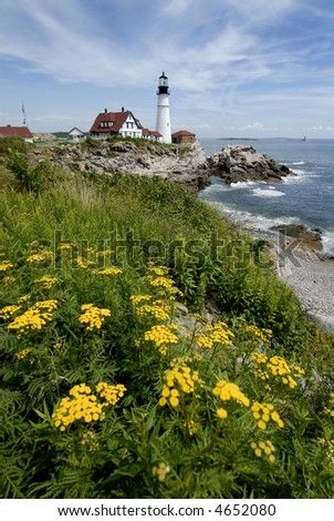 Portland Head lighthouse in Maine, vertical view - stock photo