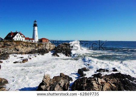 Portland Head Lighthouse, Maine - stock photo