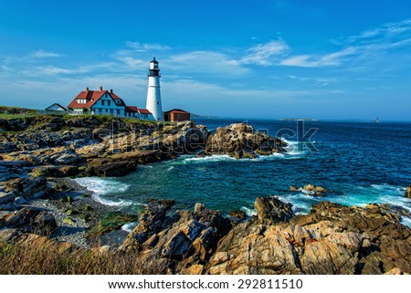 Portland Headlight  Completed in 1791, Portland Headlight is one of America's most iconic lighthouses. This beautiful landmark was constructed over 4 years under the direction of George Washington. - stock photo
