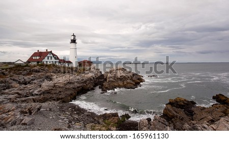 Portland lighthouse and cove