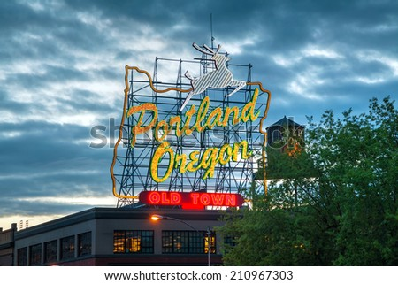 Portland Oregon Stock Royalty Free #1: stock photo portland may famous old town portland oregon neon sign on may in portland oregon