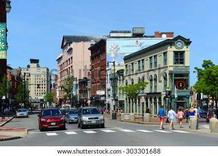 PORTLAND, ME - JUN 20: Portland Arts District H. H. Hay Building was built in 1820 at the corner of Free and Congress streets on June 20th, 2015 in the heart of Arts District of Portland, Maine, USA.
