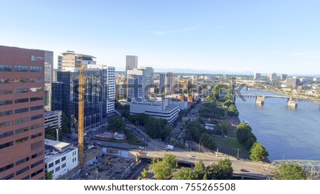 PORTLAND, OR - AUGUST 2017: Beautiful aerial view of city skyline. Portland is a famous tourist attraction.