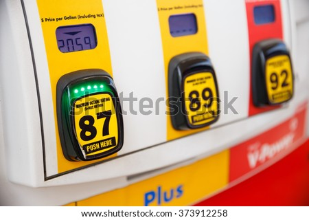 PORTLAND, OR - FEBRUARY 2, 2016: Gas pump octane selection numbers and buttons at a gasoline station in Oregon. - stock photo