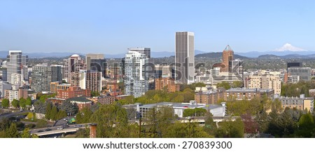 Portland Oregon city panorama buildings and surrounding areas. - stock photo