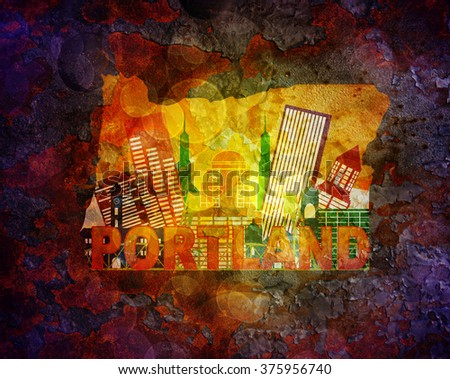 Portland Oregon City Skyline Panorama in State Map Grunge Texture Background Color Illustration - stock photo