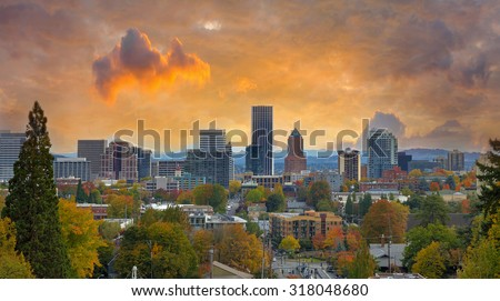 Portland Oregon Downtown City During Sunset in the Fall Season - stock photo