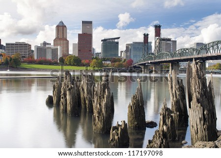 Portland Oregon Downtown City Skyline from the Waterfront of Willamette River in Autumn - stock photo