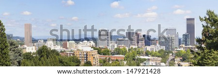 Portland Oregon Downtown Cityscape Skyline with Mount Hood Panorama - stock photo