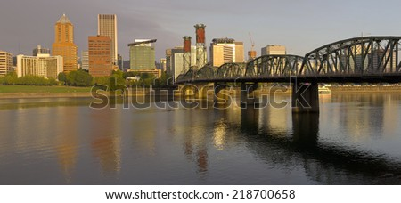 Portland Oregon panorama bathed in morning light.  - stock photo