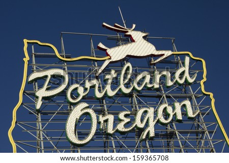 Portland Oregon Sign on a bright blue sky day - stock photo