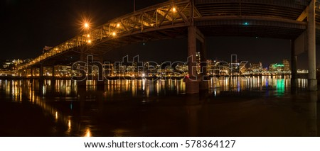 Portland Oregon Skyline and Bridge Reflection in Willamette River Panoramic