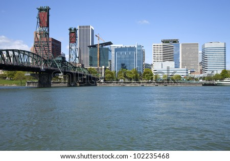 Portland Oregon skyline from below. - stock photo