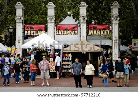 PORTLAND, OREGON, USA - JULY 17: Portland Saturday market is full with visitors that are buying craft and art products on July 17, 2010, in Portland, Oregon, USA. - stock photo