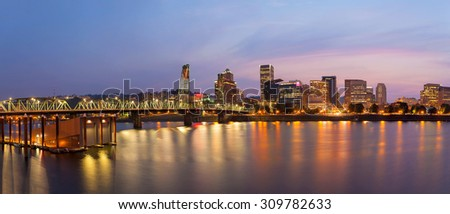 Portland Oregon Waterfront City Skyline with Hawthorne Bridge over Willamette River at Twilight Panorama