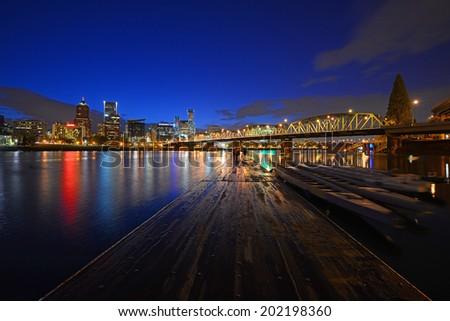 portland river waterfront at night - stock photo