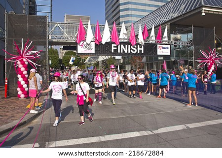 PORTLAND - September 21- 2014: Race for the cure breast cancer awareness event Portland Oregon. - stock photo