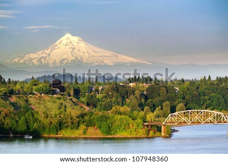 Portland Steel Bridge and the Mt hood - stock photo