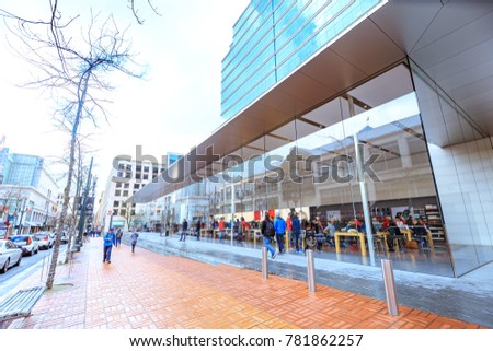 Portland, United States - Dec 21, 2017 : Facade of Apple Store at Pioneer district