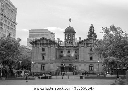 PORTLAND, USA - MAY 19, 2015: Pioneer Courthouse is the oldest federal building in the Pacific Northwest
