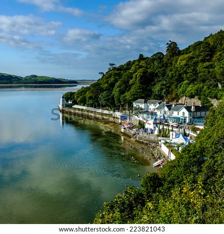 PORTMEIRION - NORTH WALES - SEPTEMBER 7TH: View of 'The Hotel Portmeirion' at Portmeirion on the river Dwyryd. 7th September 2014 at Portmeirion. North Wales, UK.