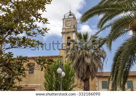 Porto Azzurro, church Chiesa di San Giacomo Maggiore, Elba, Tuscany, Italy, Europe - stock photo