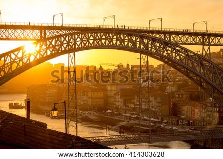 porto bridge sunset - stock photo