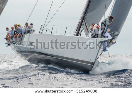 PORTO CERVO - 9 SEPTEMBER: Maxi Yacht Rolex Cup sail boat race, on September 9 2015 in Porto Cervo, Italy - stock photo