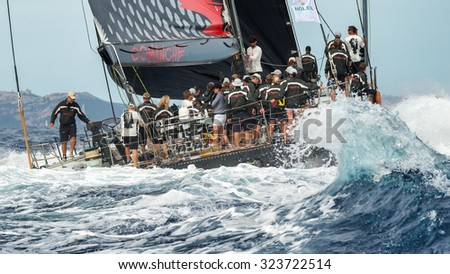 PORTO CERVO - 9 SEPTEMBER: Maxi Yacht Rolex Cup sail boat race. The event is one of international sailings most important and revered competitions. on September 9 2015 in Porto Cervo, Italy - stock photo