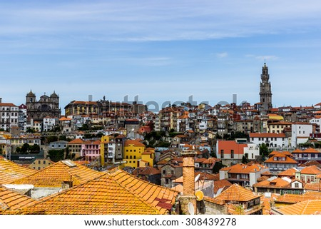 Porto cityscape with Sè cathedral and Clerigos tower, Portugal - stock photo