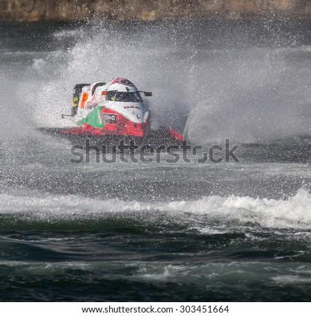 PORTO - GAIA, PORTUGAL - AUGUST 2, 2015: Alex Carella (ITA) during the U.I.M. F1H2O World Championship in Porto & Gaia, Portugal.  - stock photo